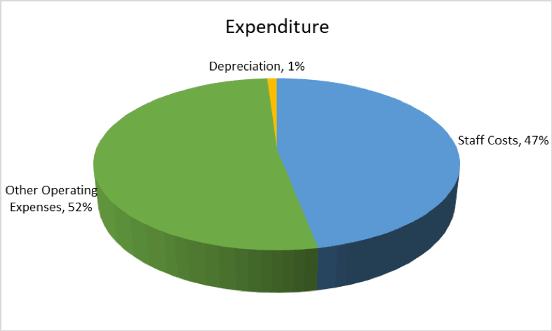 Pie Chart illustrating sources of Income as percentages of the whole.