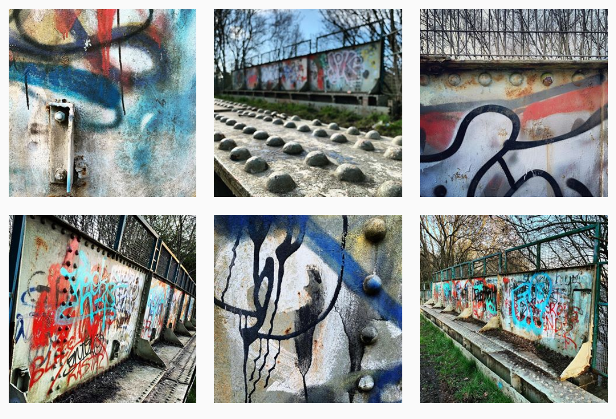 Image : An arrangement of six photographs, each showing different views of a bridge daubed in graffiti.
